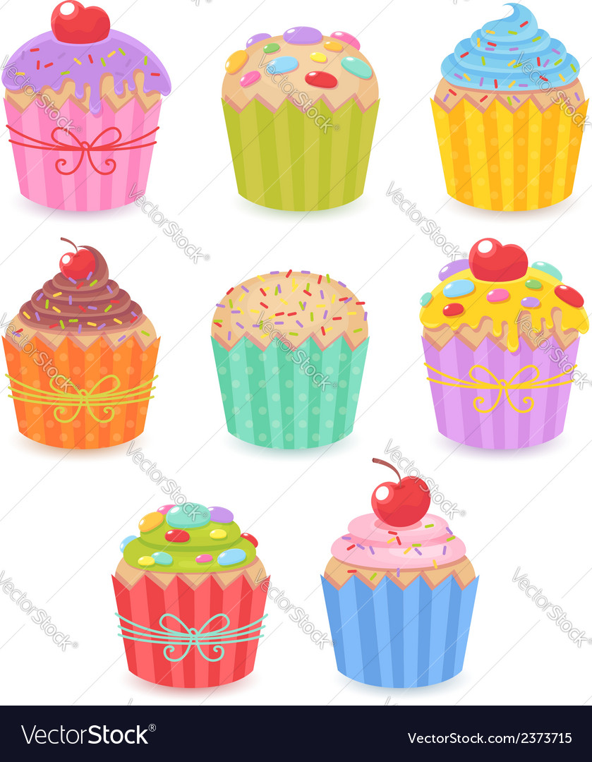 A set of tasty colorful muffins and cupcakes