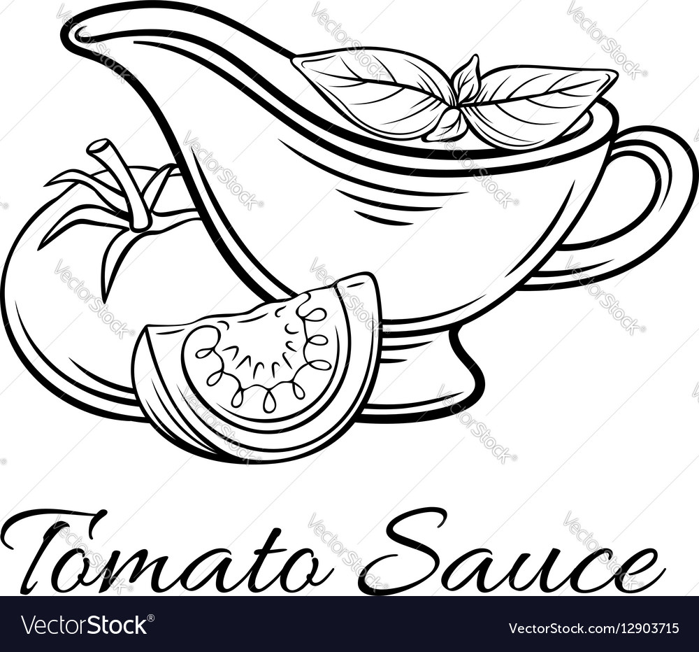 Badge tomato sauce Logo food product vector image