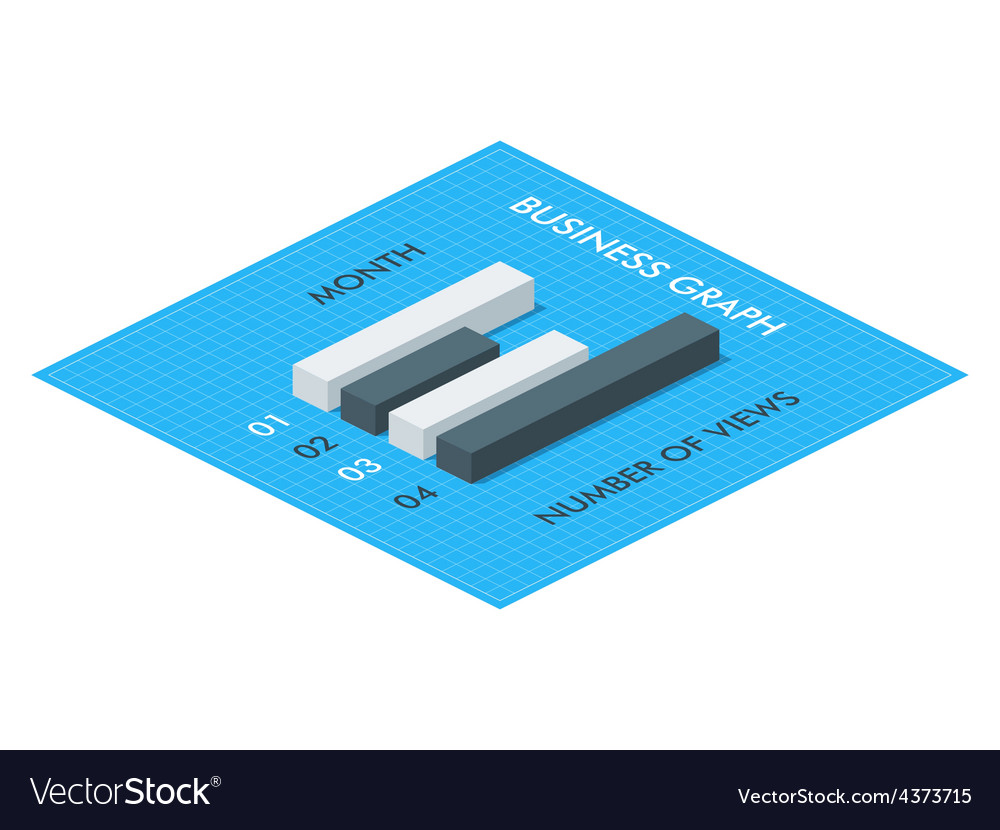 Business Isometric Graph Template vector image