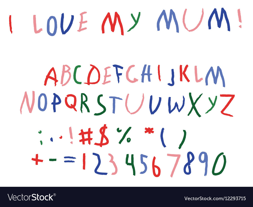 Child bascript letters font hand writing