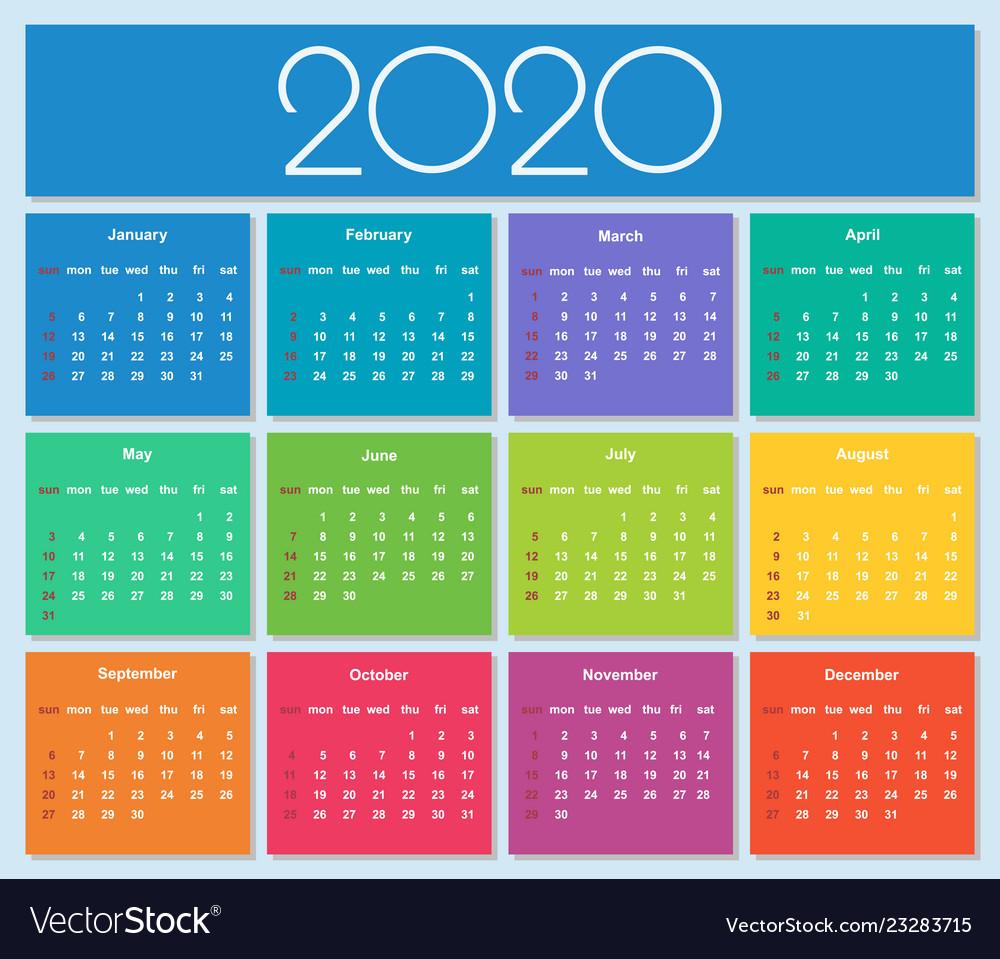 Calendar Year 2020.Colorful Year 2020 Calendar