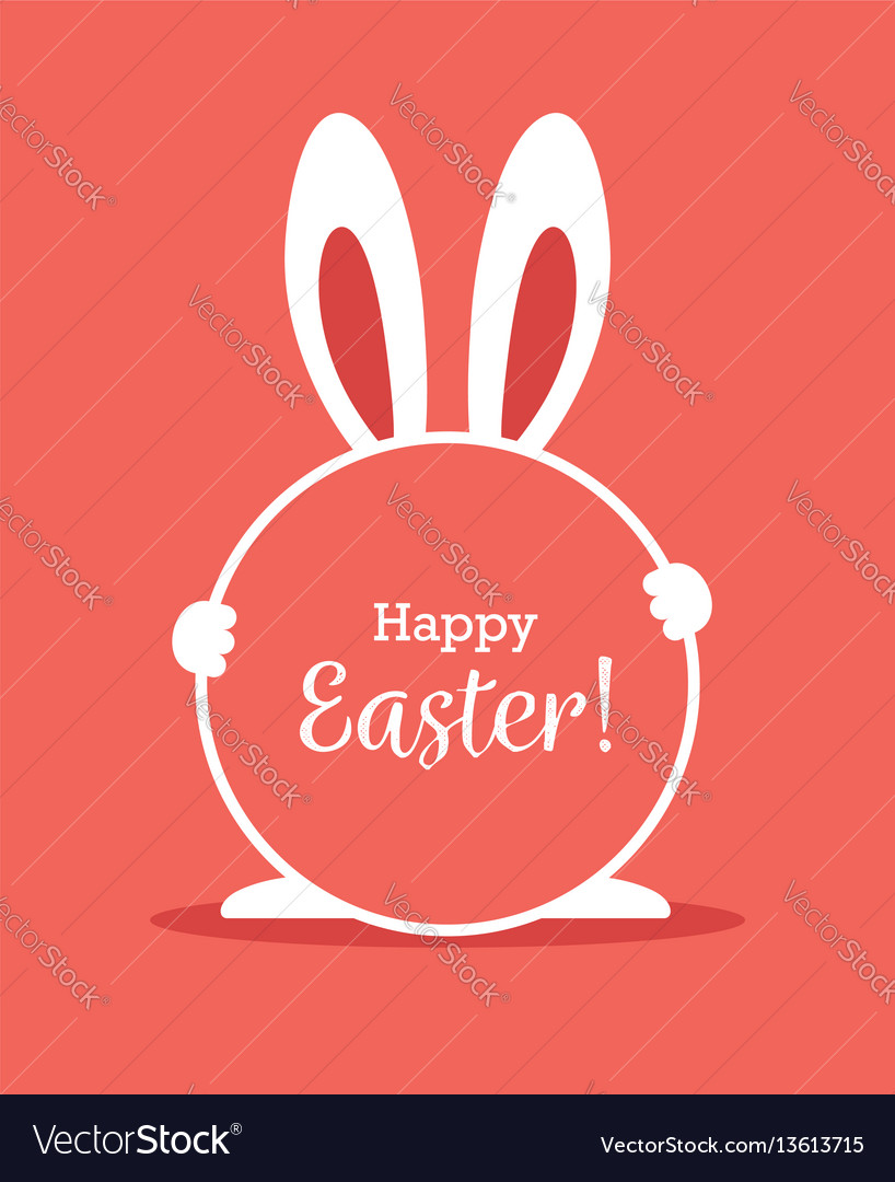 Easter greeting card with round frame and bunny vector image
