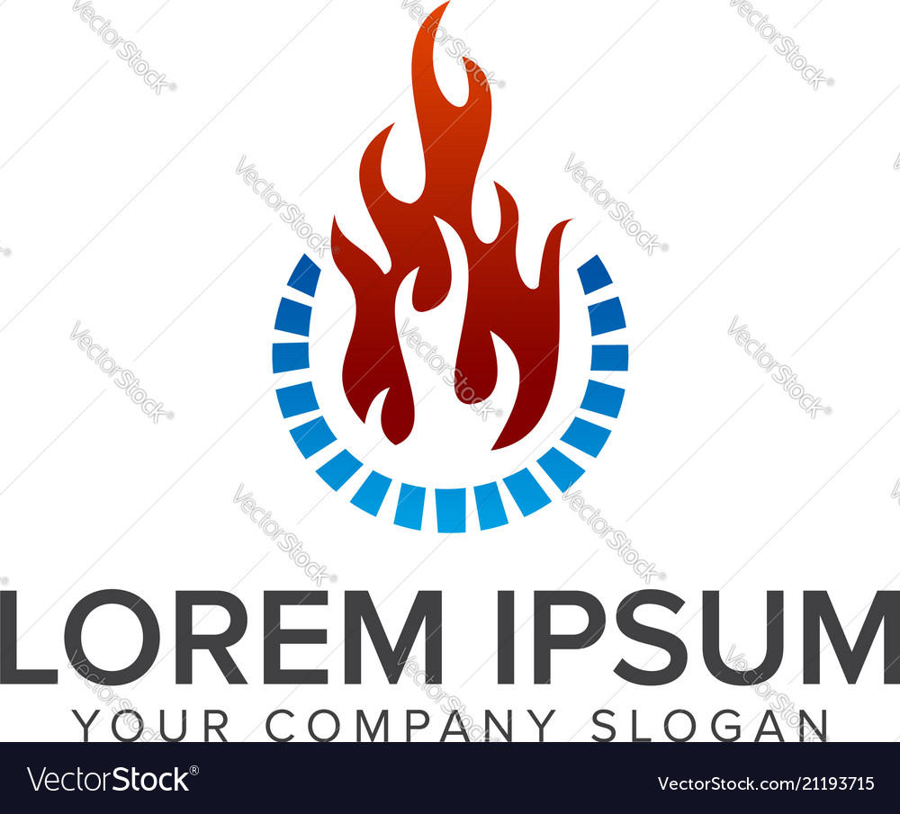 Flame and water logo design concept template
