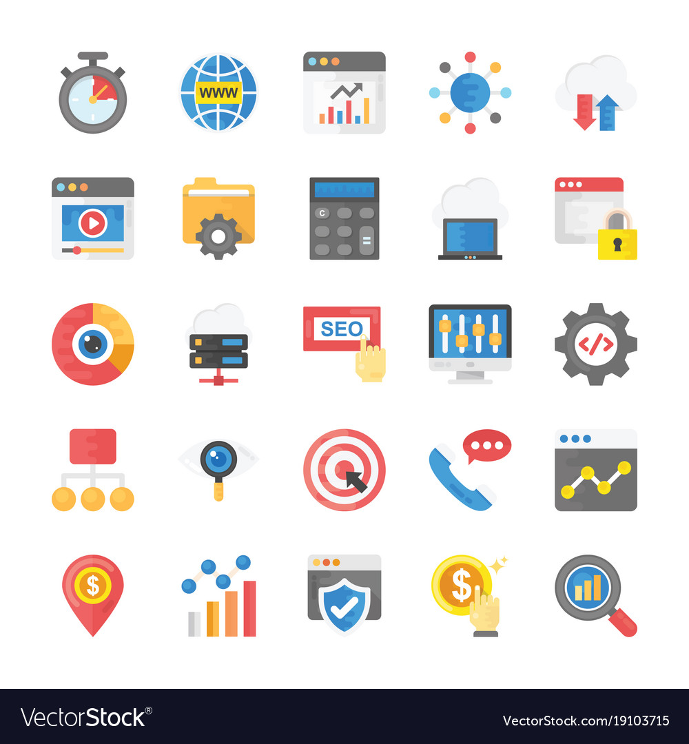Flat icons seo and marketing pack