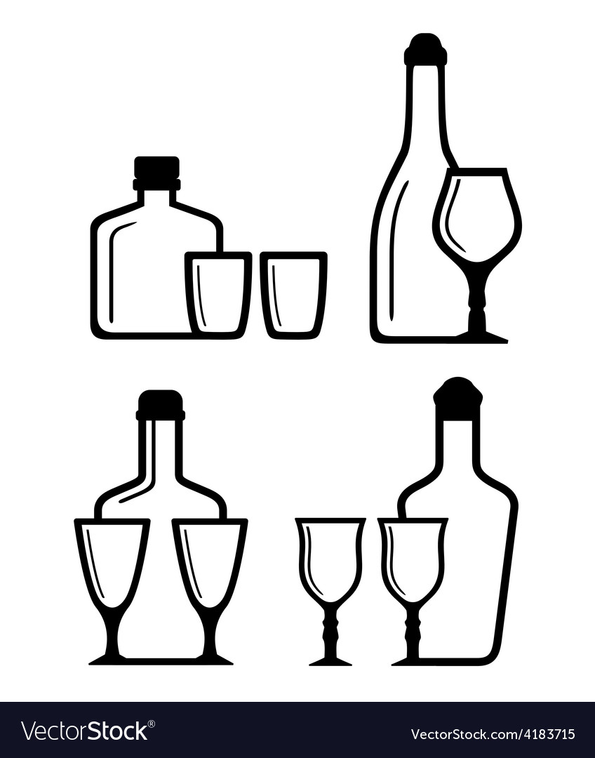 Glass and bottle icons