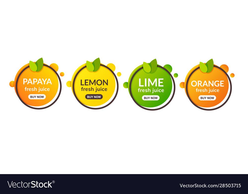 Juice fresh fruit label icon orange lemon lime
