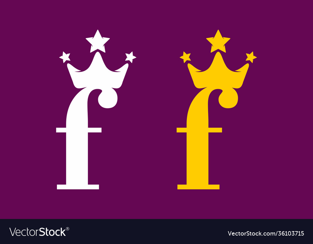 Lowercase f initial letter with crown white