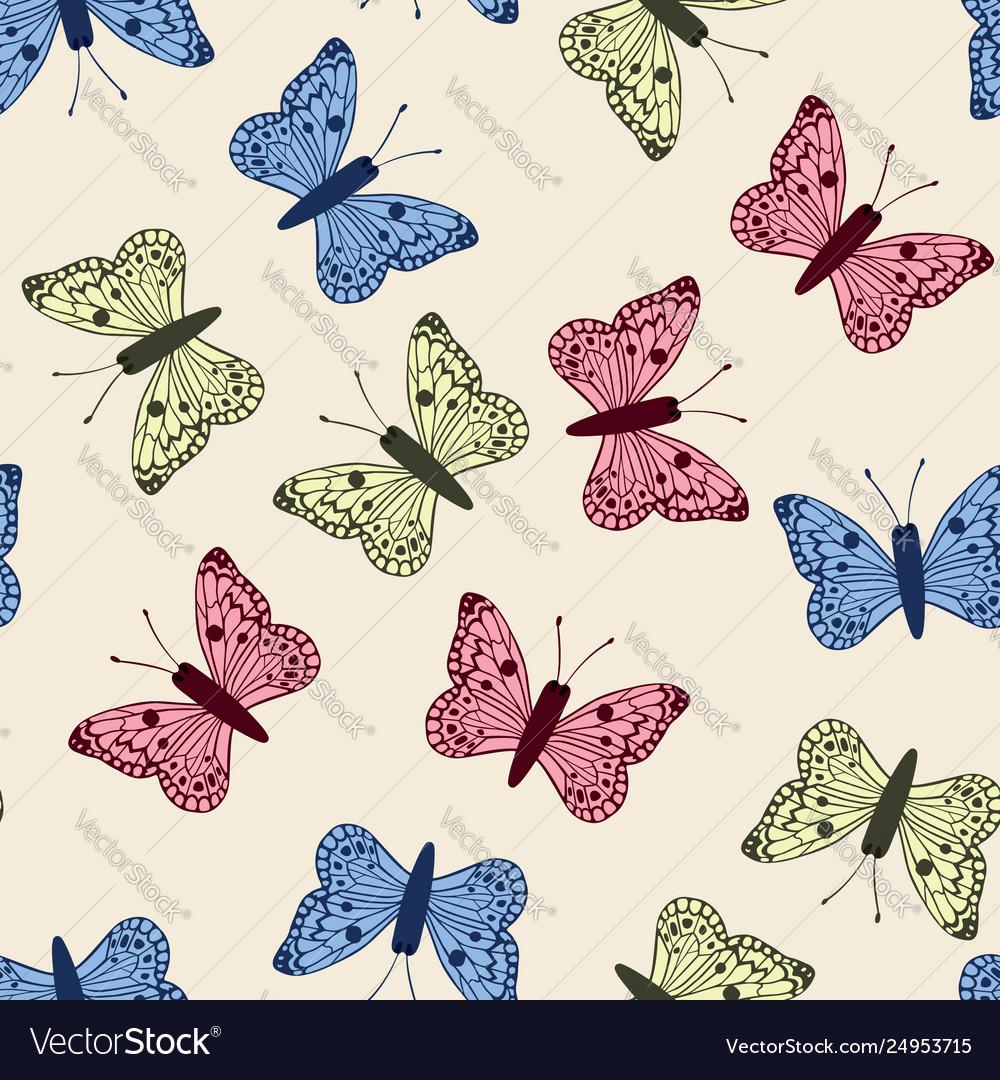Multicolor butterflies set seamless pattern white