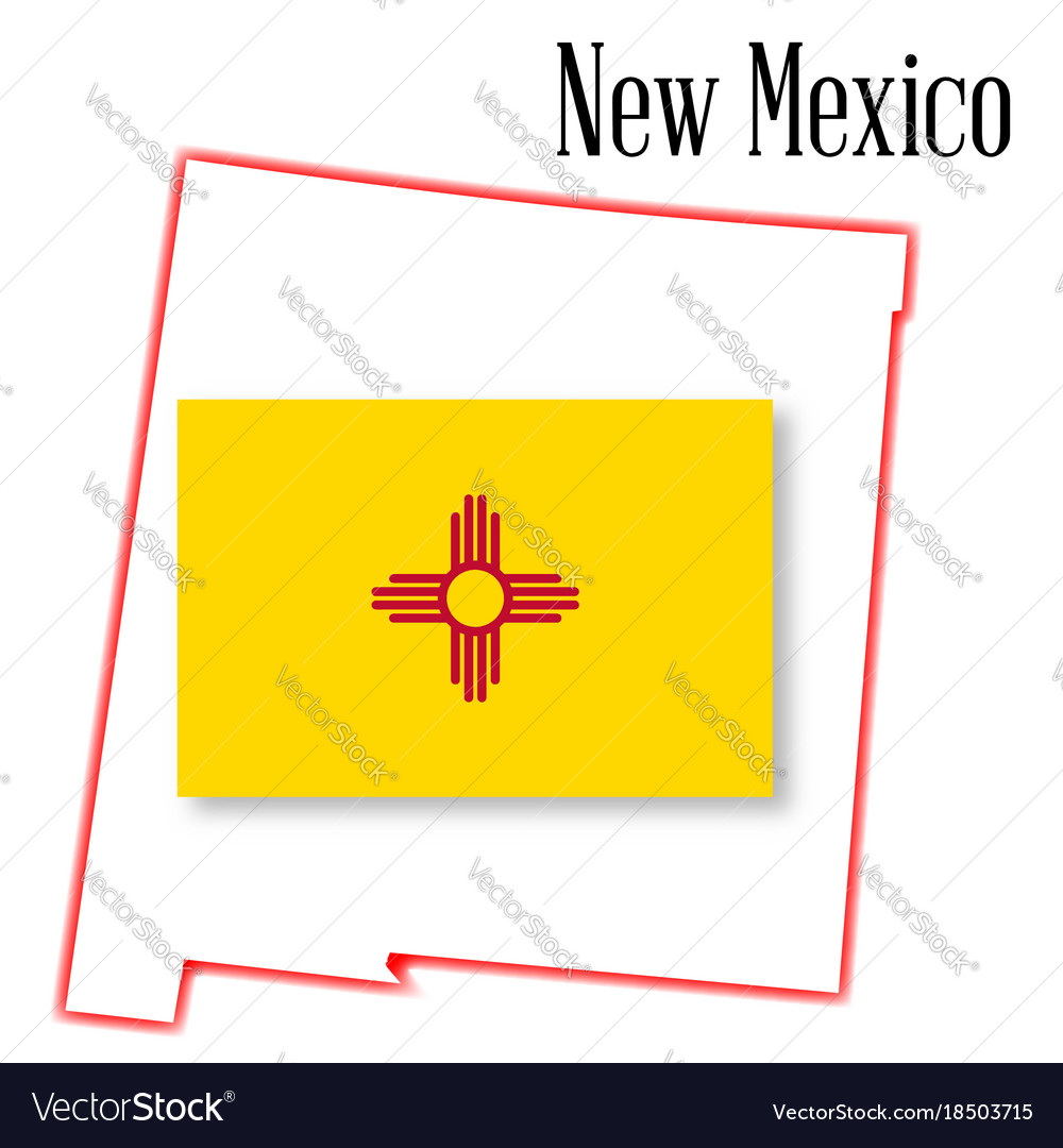 New Mexico State Map And Flag Royalty Free Vector Image