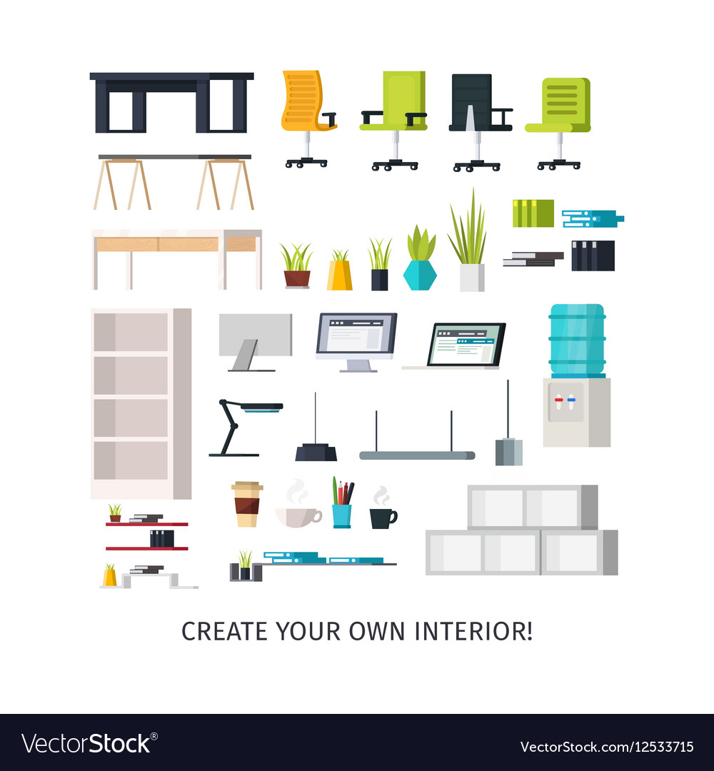 Office Interior Icons Set