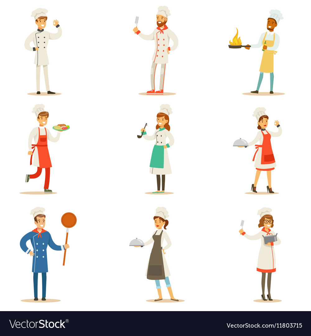 Professional Cooking Chefs Working In REstaurant vector image