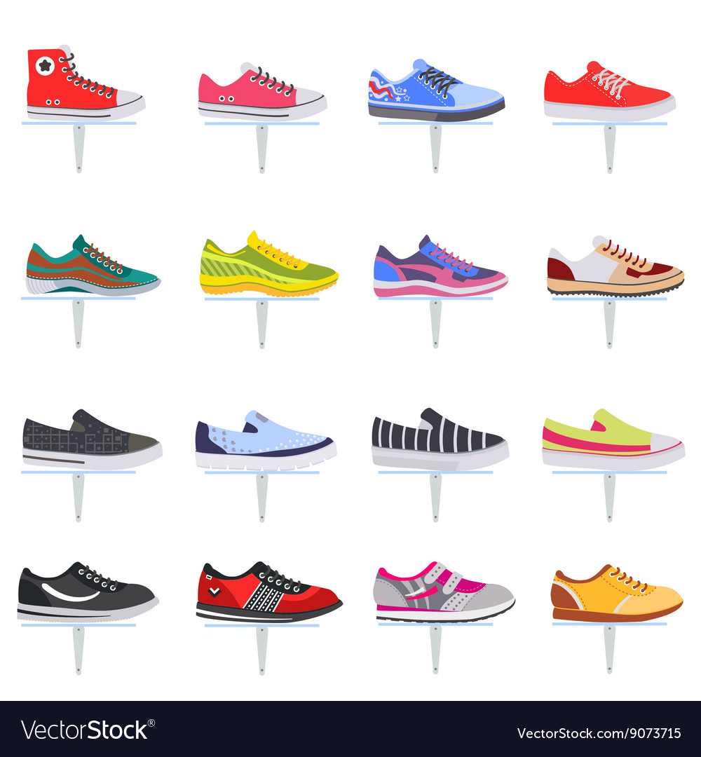 Sport shoes sneakers collection set