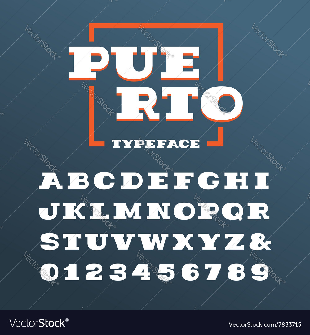 Wide slab serif font alphabet with latin letters