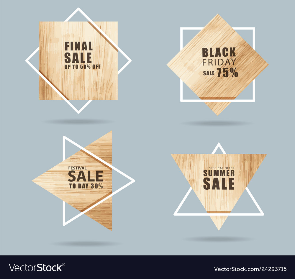 Wooden sign with creative sale banner modern