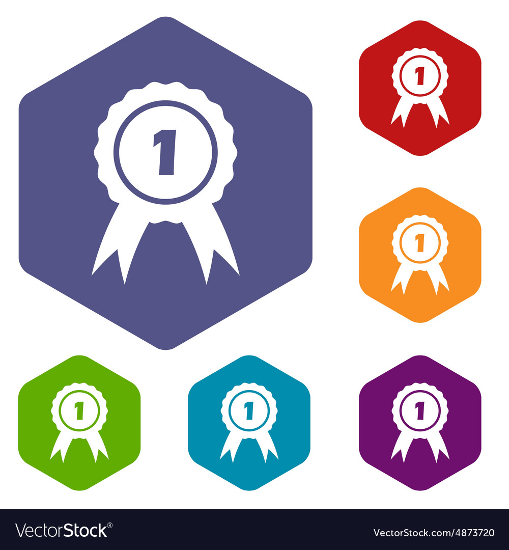 1st place hexagon icon set vector image