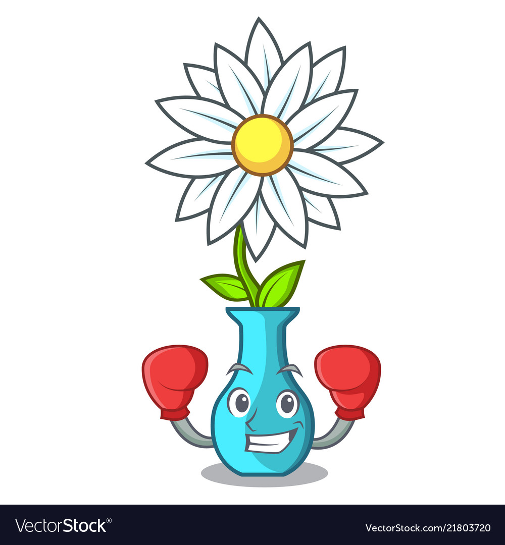 Boxing vase with bouquet of beautiful cartoon vector image izmirmasajfo