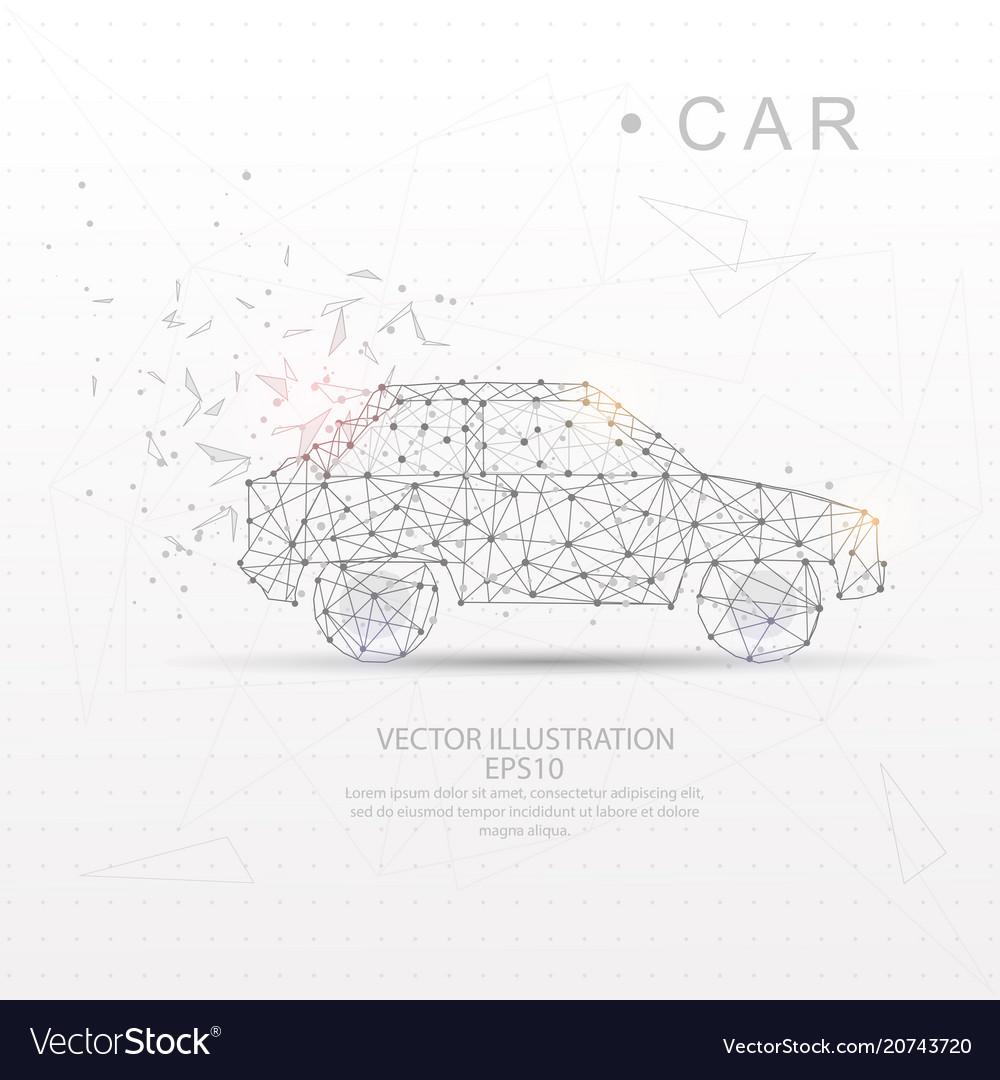 Car shape digitally drawn low poly wire frame