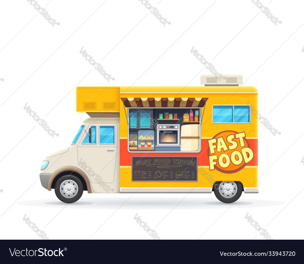Fast food truck isolated car with snacks