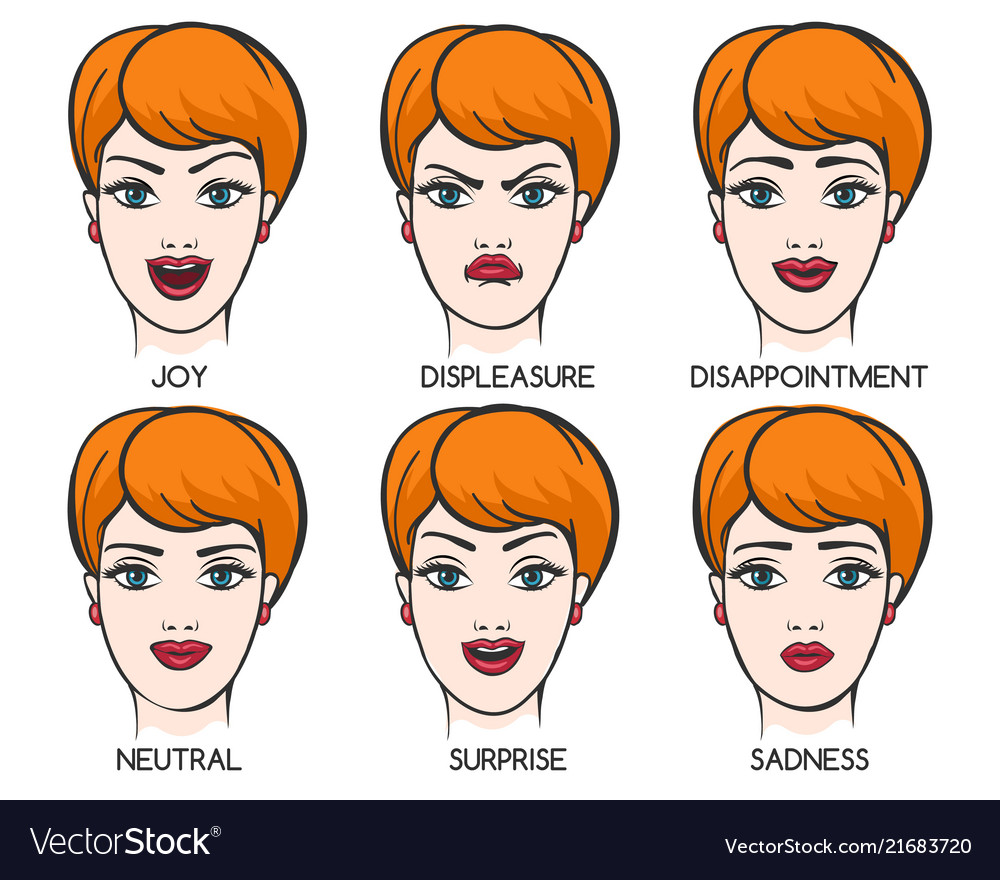 Female face expression set