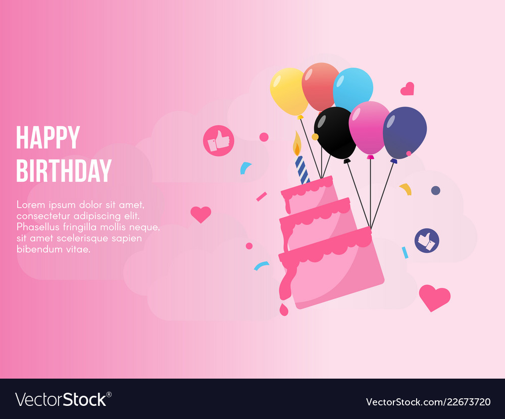 Happy birthday concept in pink background