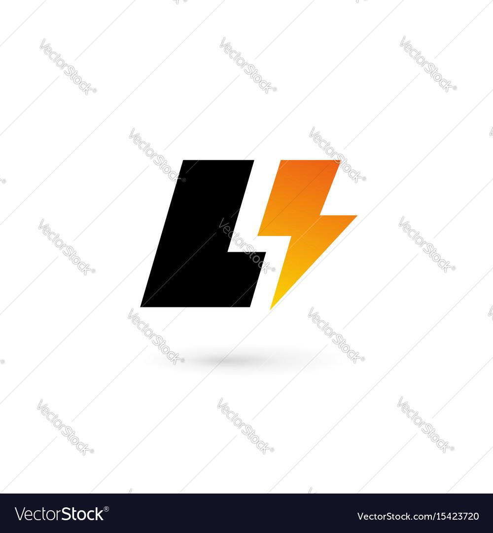 letter l lightning logo icon design template vector image