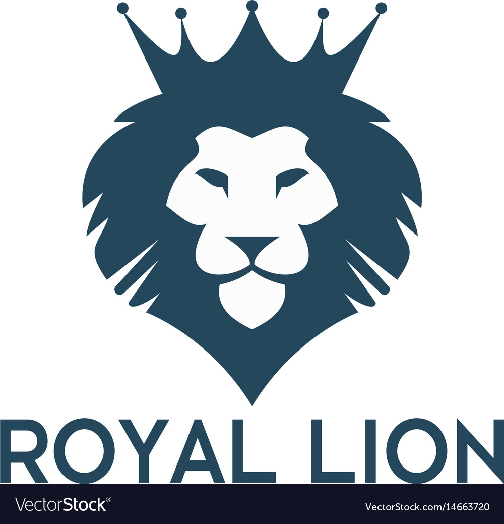 Lion head with crown logo design vector image