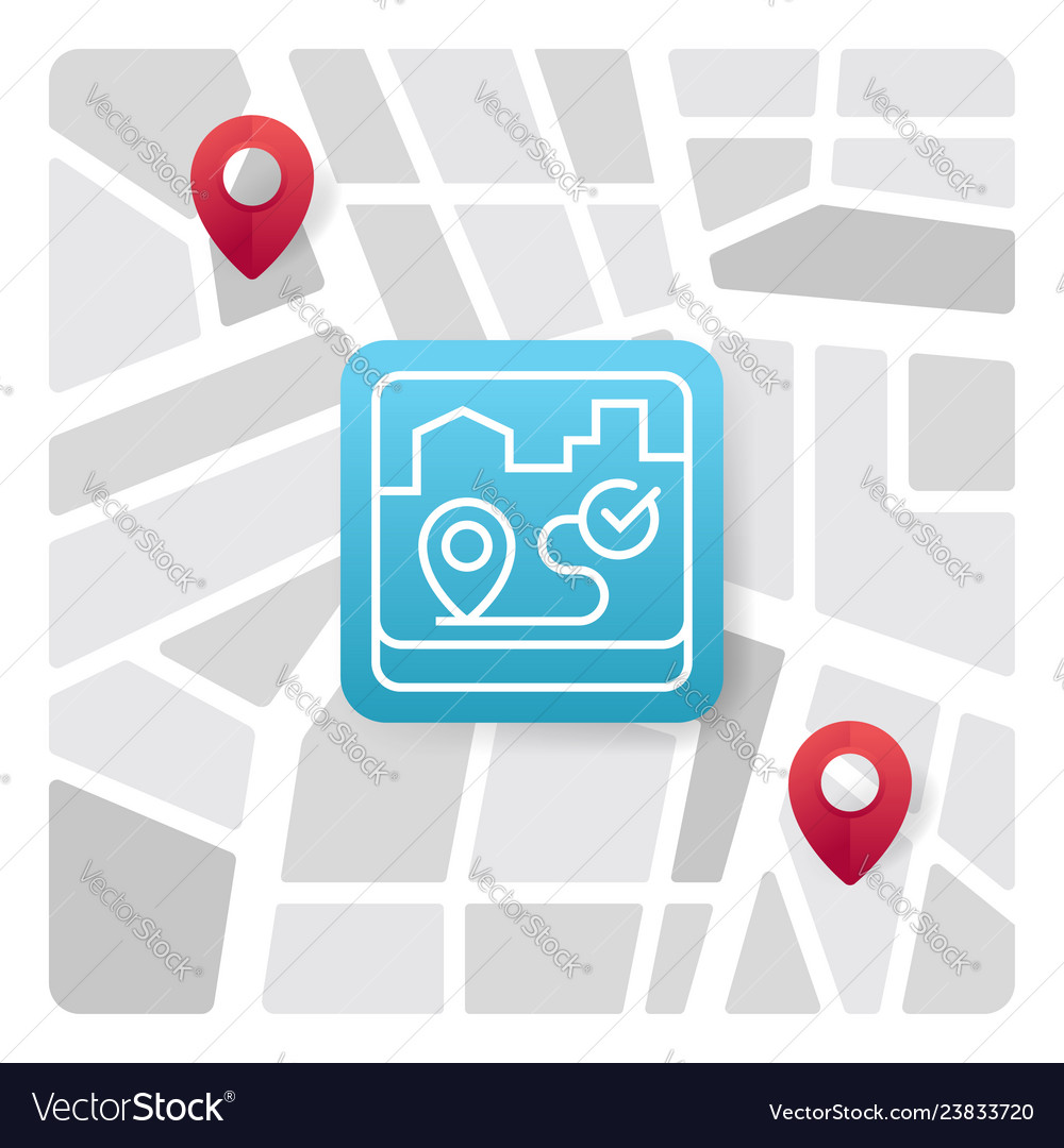 Map logo icon with blue gradient color