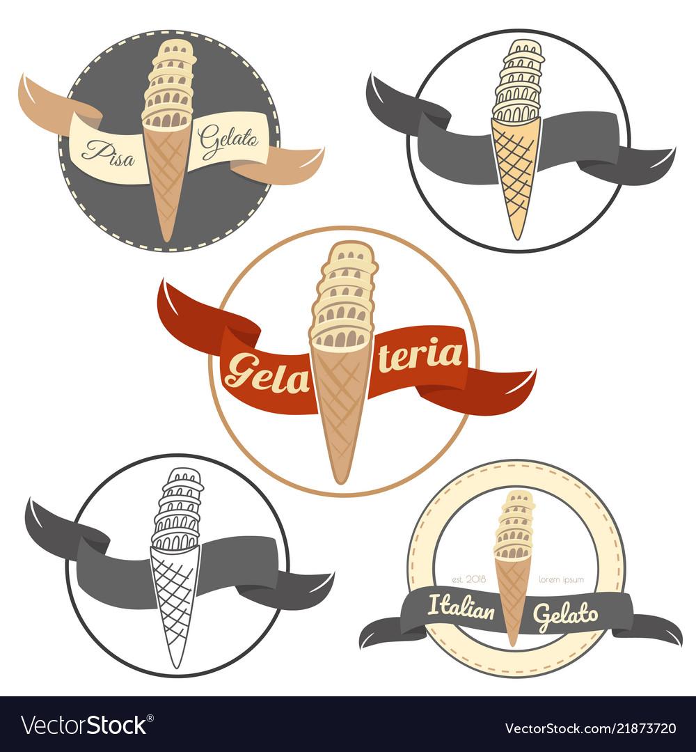 Pisa ice cream logo set isolated on white