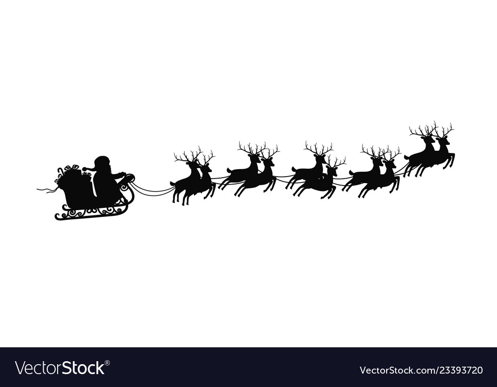 Santa claus on sleigh with reindeers on on white