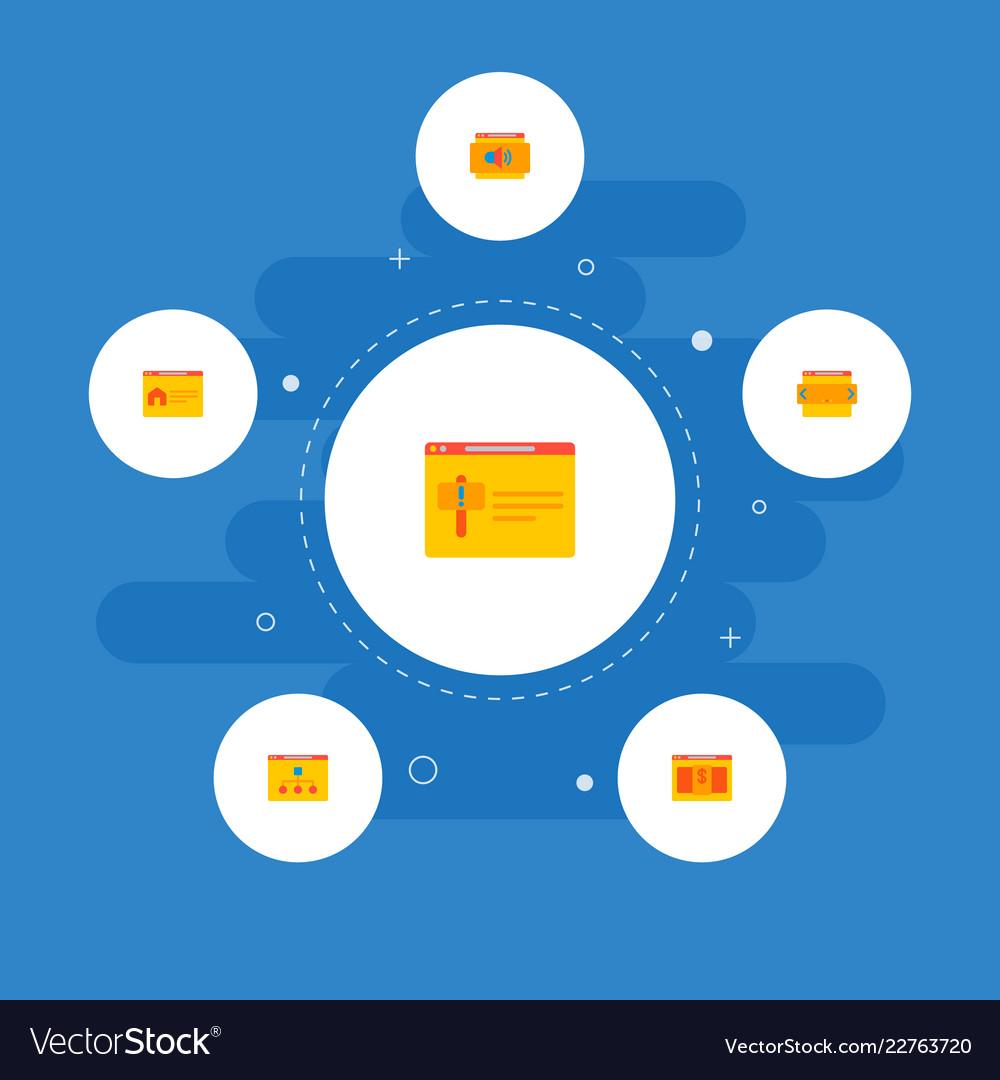 Set website icons flat style symbols
