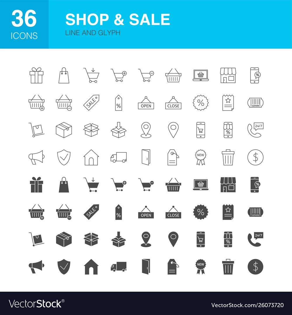 Shop sale line web glyph icons