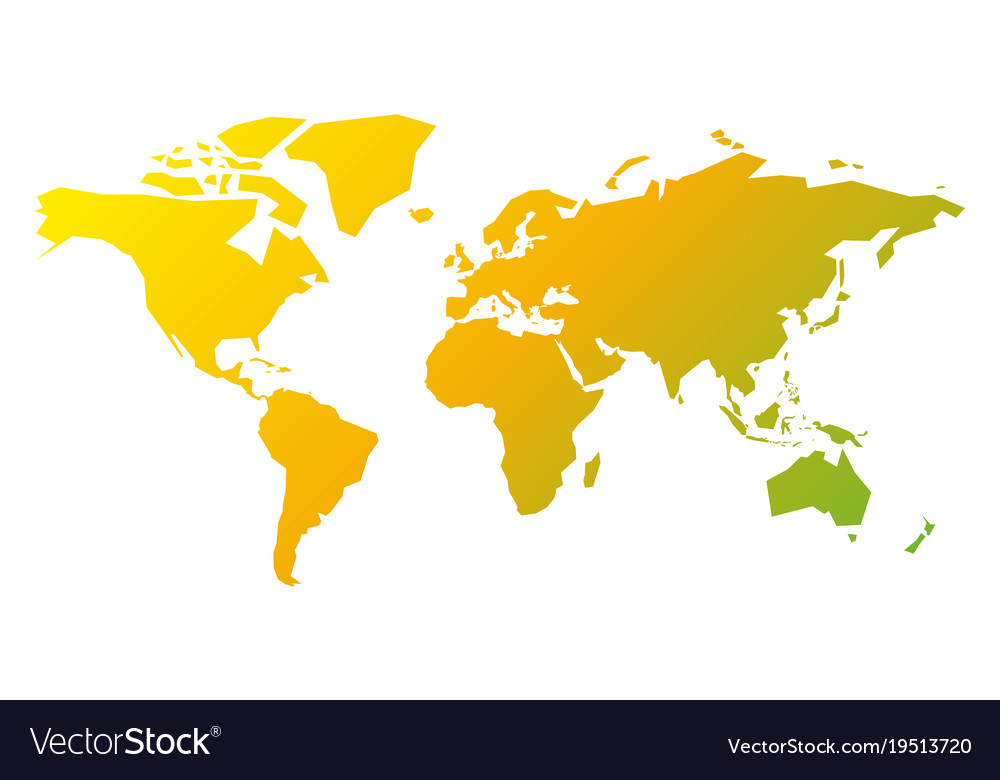 Simplified silhouette of world map in yellow-green