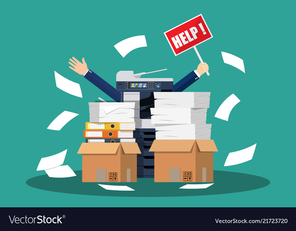 Stressed cartoon businessman in pile papers
