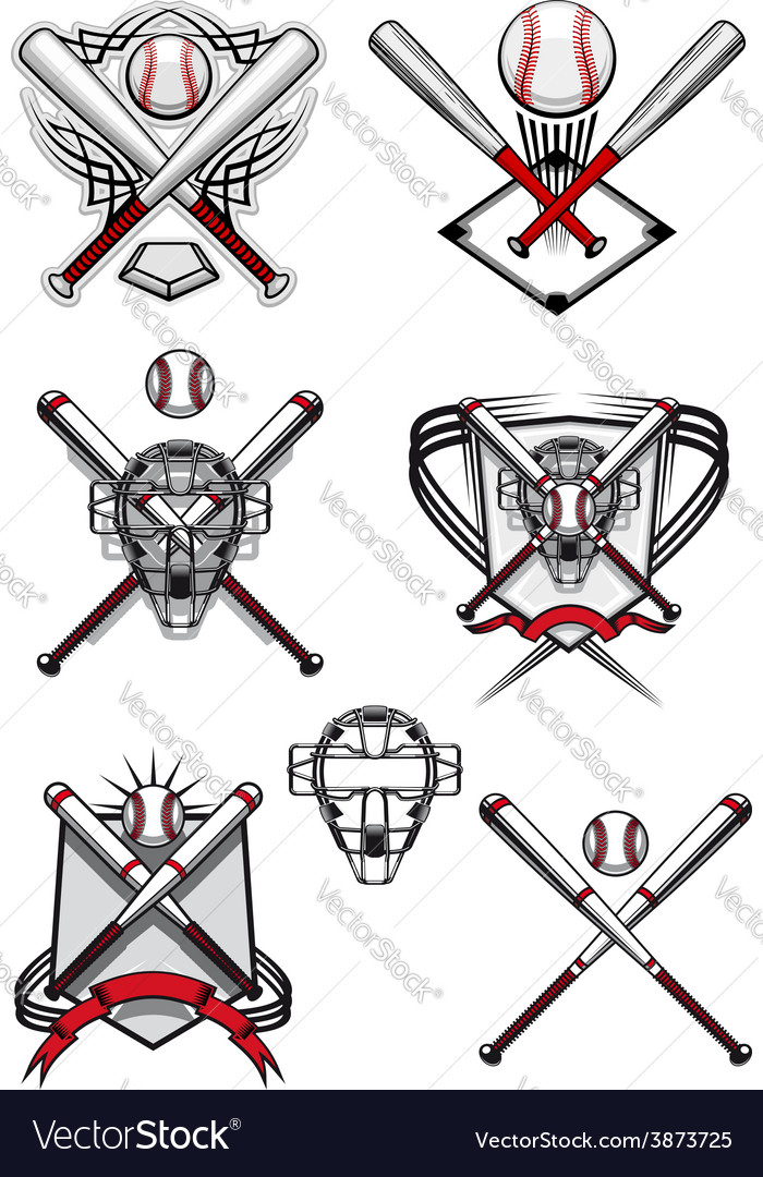 Baseball symbols with heraldry elements and tribal