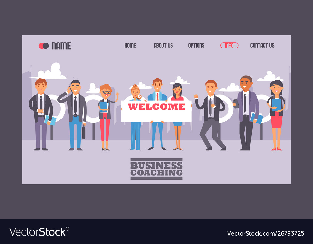 Business people holding sign with text welcome