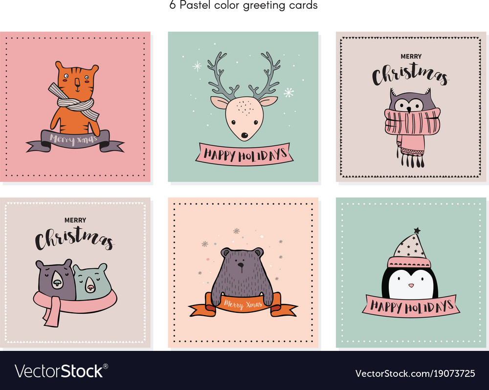 Christmas card set with winter animals