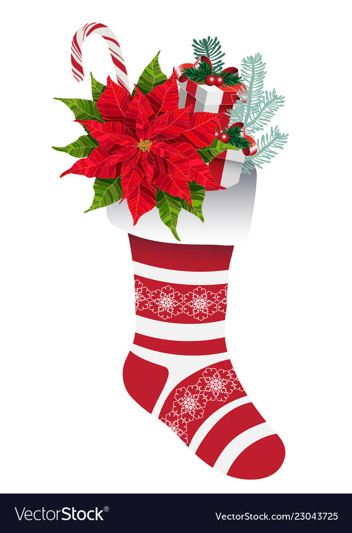 Christmas decorative sock with gifts and flowers