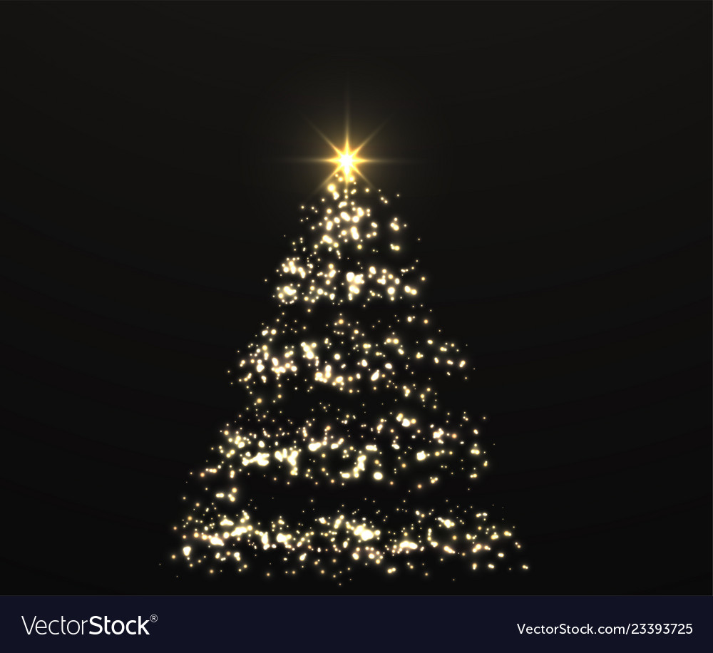 Christmas shiny golden tree with glowing lights