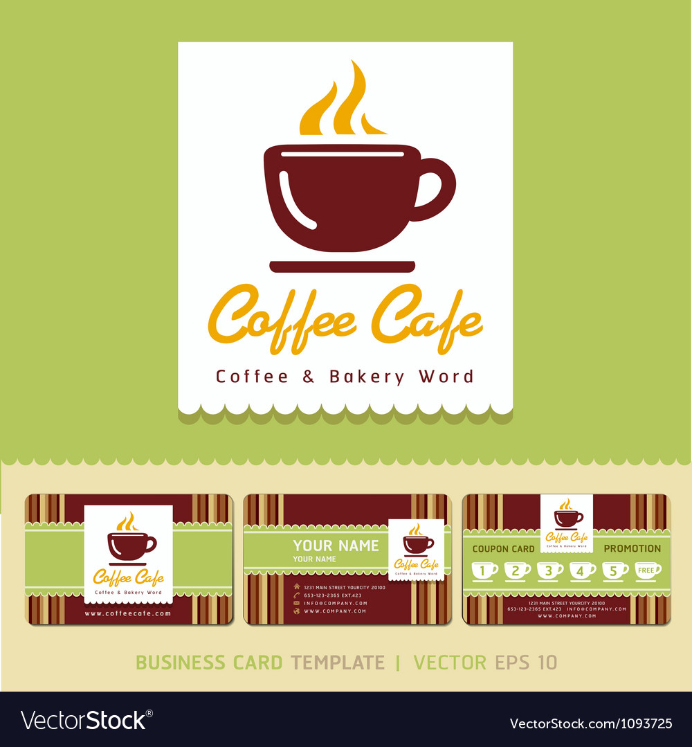 Coffee cafe icon logo and business card design vector image