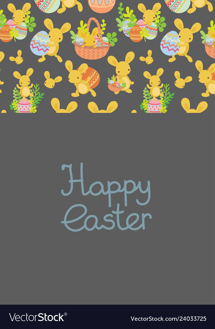 Cute easter frame template of bunnies and eggs