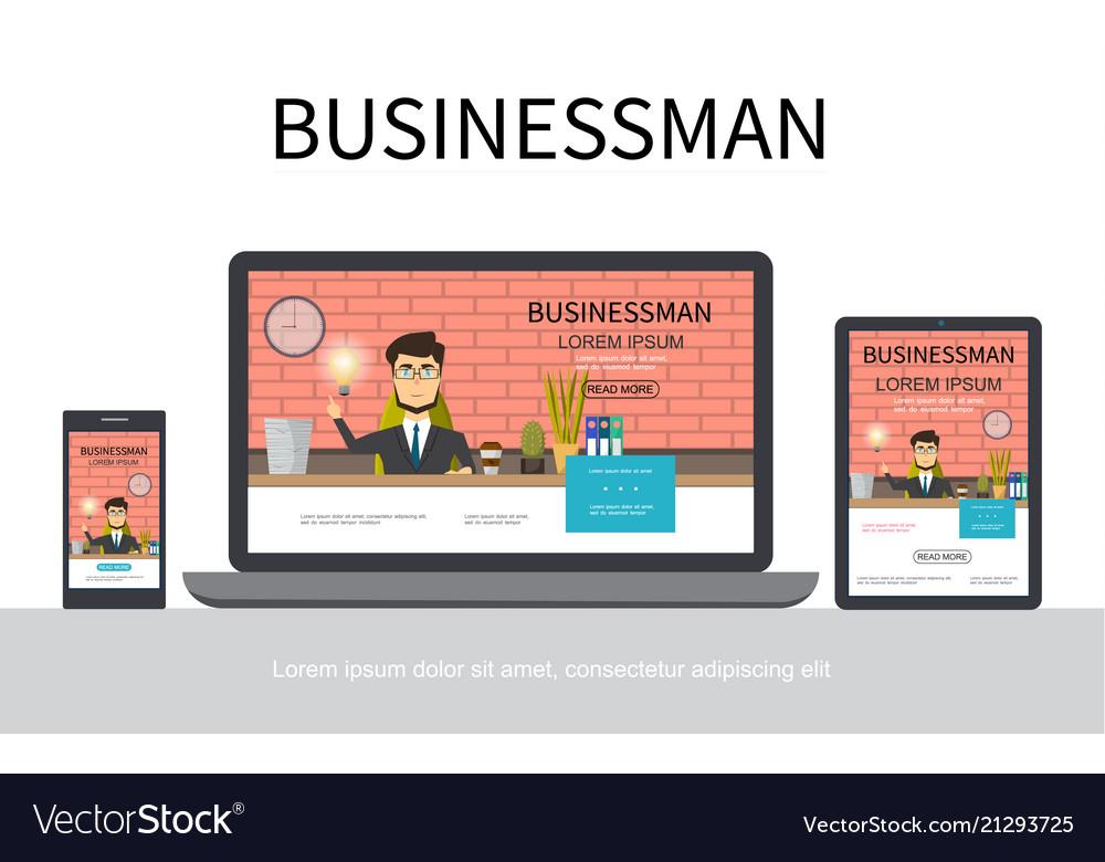 Flat businessman adaptive design concept