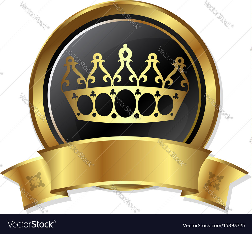 Golden crown in the circle vector image