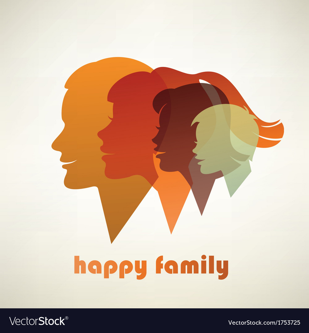 Happy family profile silhouettes vector image