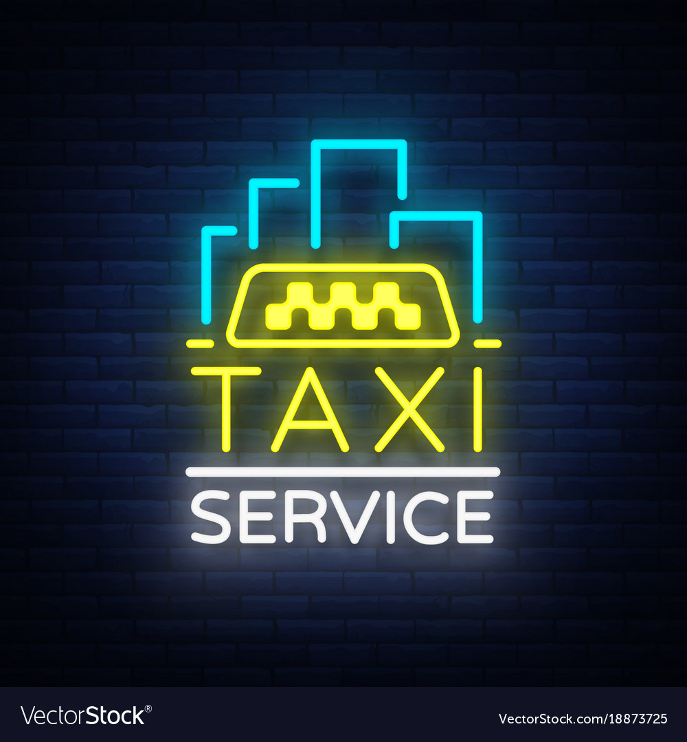 Neon taxi logo isolated on a brick vector image