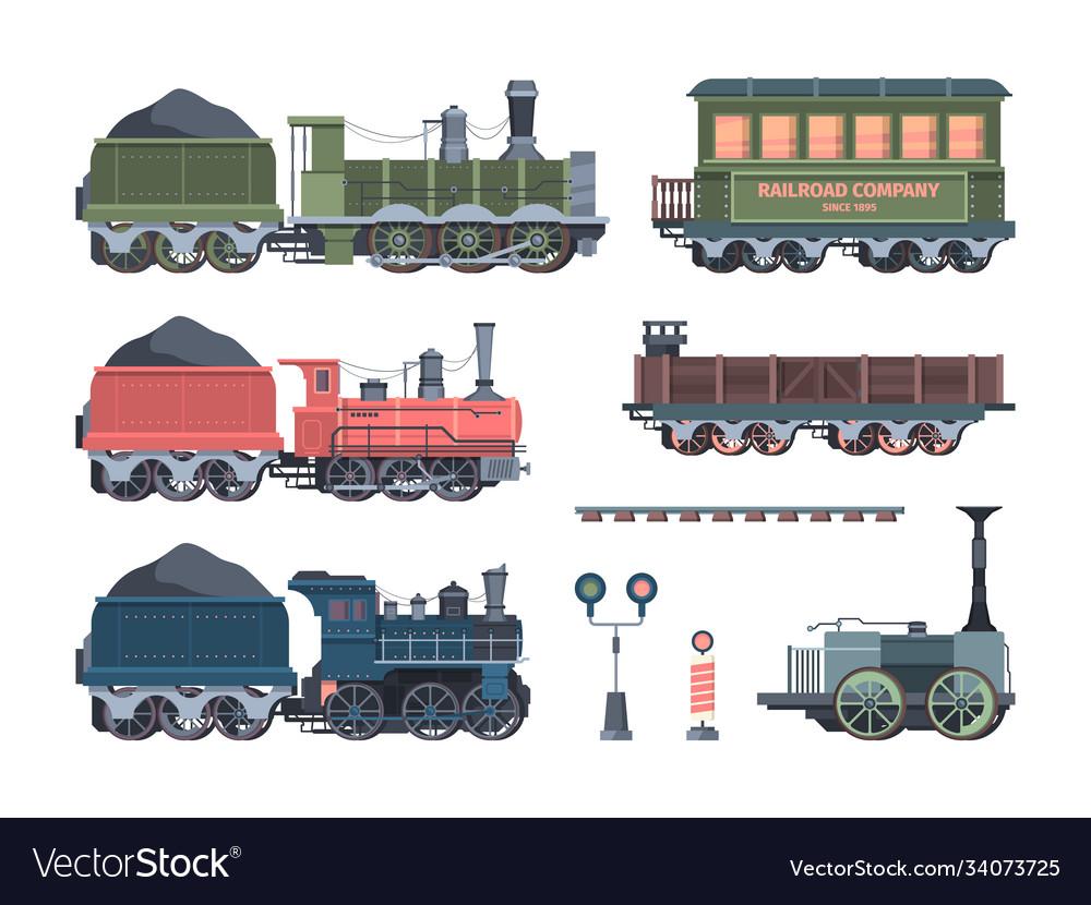 Old steam locomotives set comfortable green cars