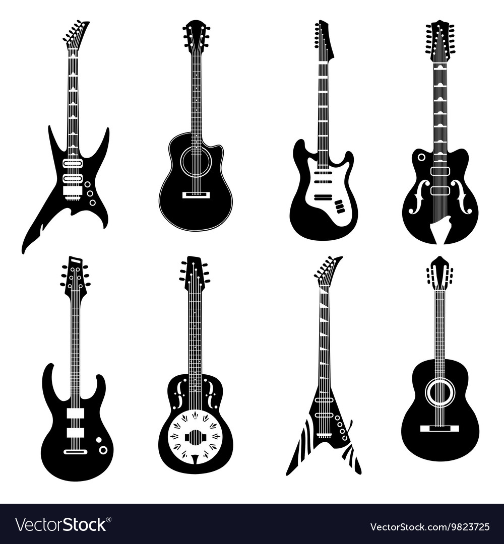 Set of black guitars icons vector image