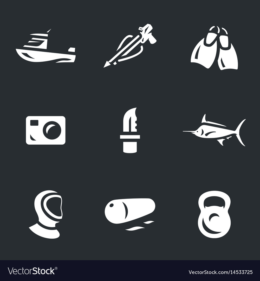 Set of spearfishing icons vector image