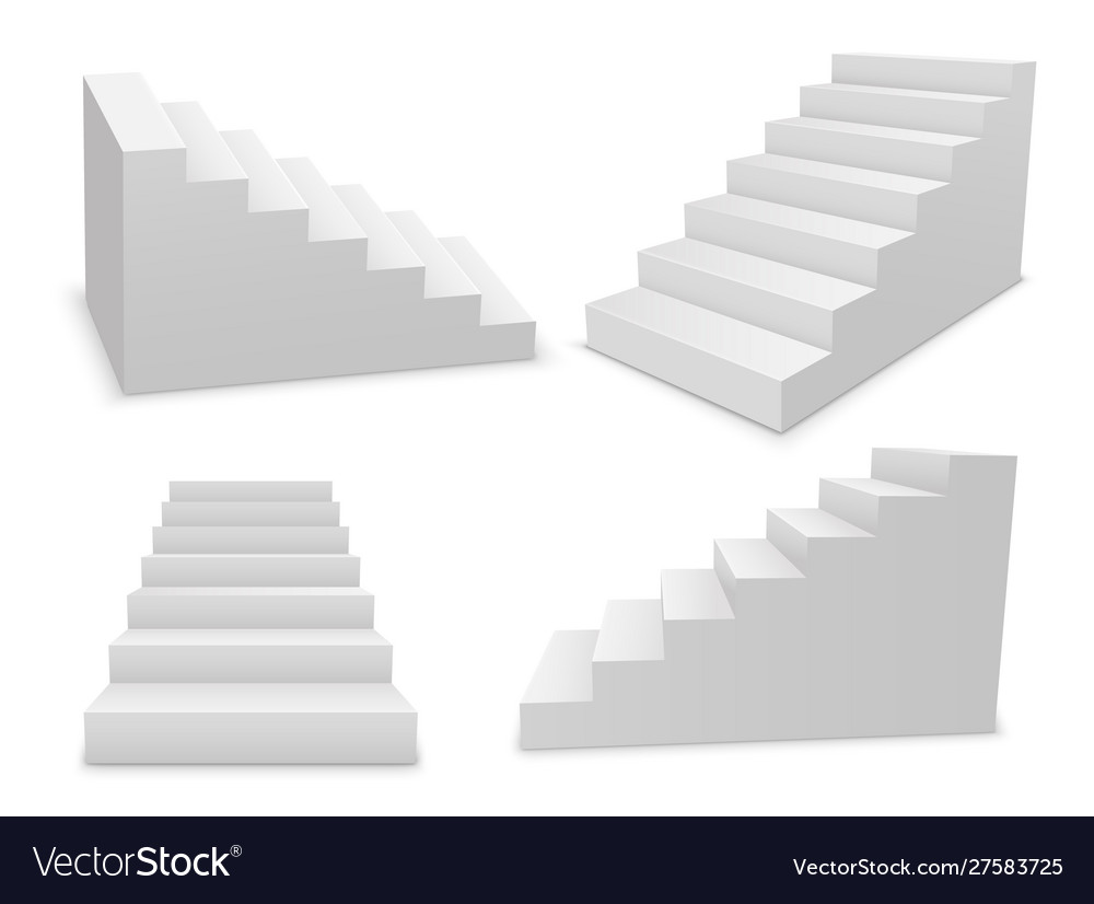 Stair 3d white isolated ladder staircase
