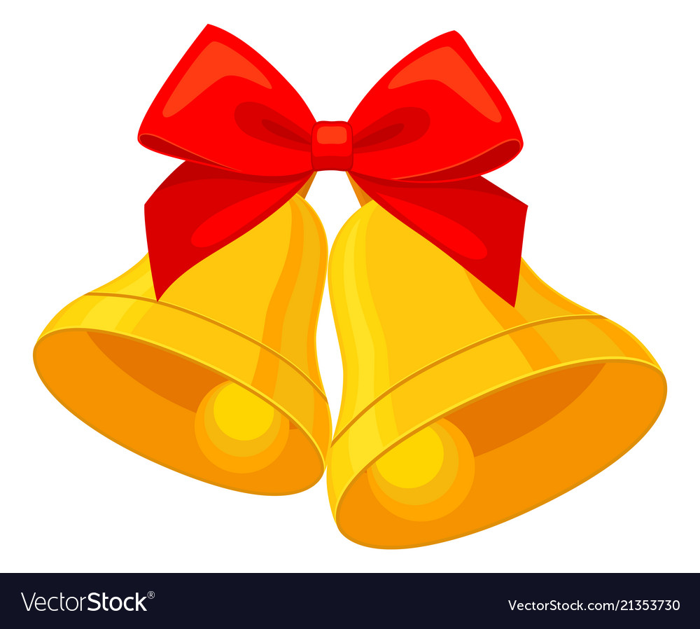Colorful cartoon two bells with ribbon bow Vector Image