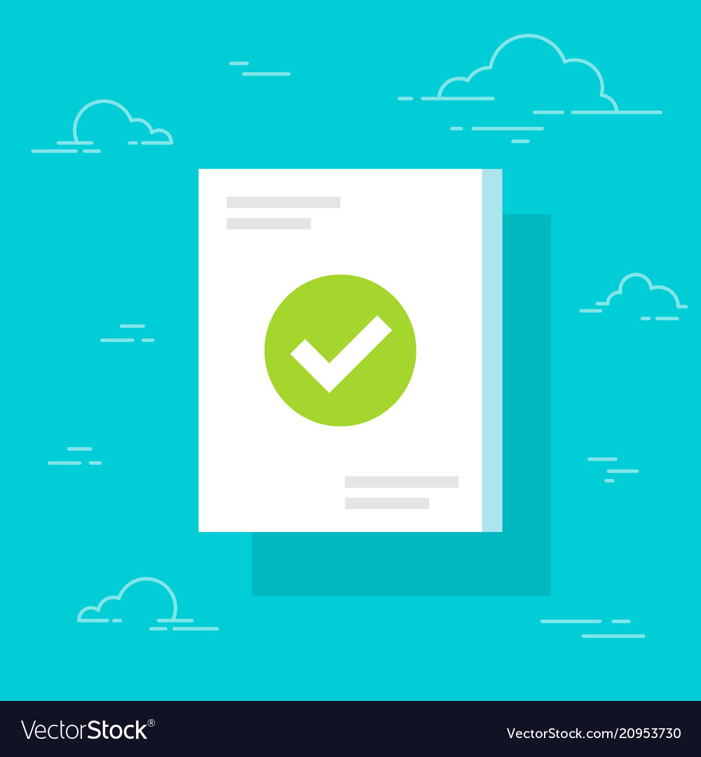 Document and checkmark icon flat cartoon paper